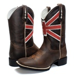 BOTA TEXANA COUNTRY MASCULINA BORDADA BANDEIRA