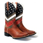 BOTA TEXANA BORDADA CANO ALTO MASCULINA USA FB60
