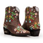 Texana Country Com Bordado Floral Em Couro