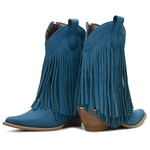 Bota Texana Feminina Couro Nobuck Azul Turquesa Com Franjas 35 - Silverado Botas