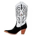 Bota Texana Feminina Couro Nobuck Preto E Floater Branco Com Ponteira - Silverado Botas