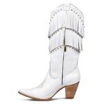 Bota Texana Feminina Couro Floater Branco Franjas E Strass- Silverado Botas