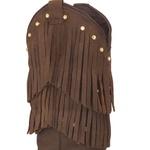Bota Texana Feminina Couro Crazy Horse Havana Franjas E Strass - Silverado Botas