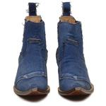 Botina Masculina Tecido Jeans Azul Bico Alongado