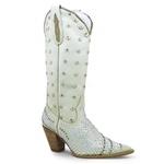 Bota Texana Feminina Couro Nobuck Gelo Com Detalhes Strass E Hotifix 37 Silverado