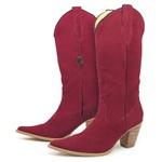 Bota Texana Feminina Couro Nobuck vermelha Lisa - Silverado Botas