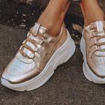Tênis Feminino De Couro Chunky Sneaker De Griffe Glace