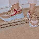 Tênis Sneaker Feminino De Griffe Up Chunky De Couro Conforto Avelã E Flamingo
