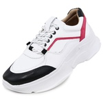 Tênis De Couro Griffe Sneaker Chunky Dad Branco/Pink