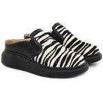 Mule Feminino De Griffe Up Maia Em Couro Conforto Preto/Zebra