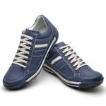 Sapatênis Masculino Em Couro Legítimo Azul - Ref.3008