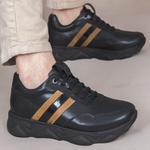 Tênis Chunky Sneaker Masculino Tracker Em Couro Preto Mostarda