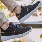 Tênis Chunky Sneaker Masculino Tracker Em Couro Marinho Mostarda