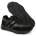 Tênis Chunky Sneaker Masculino Tracker Em Couro Preto Veneza Verniz