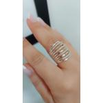 Anel Luxo Em Prata Com Aplique Em Ouro E Zircônias
