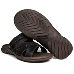 Sandália Papete Masculina de Couro Chocolate 2200