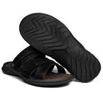 Sandália Papete Masculina de Couro Preto 2200