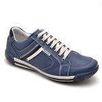 Sapatênis Casual Conforto Couro Azul 3007
