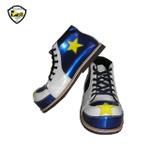 Sapato de Palhaço Infantil Azul Brilhante / Branco Detalhe Estrela Ref 700