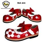 Sapato Palhaço Feminino Vermelho Flores Ref 910