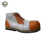 Sapato de Palhaço Infantil Branco Brilhante/Laranja Detalhe Estrela Ref 601