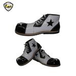 Sapato de Palhaço Infantil Branco/Preto com Detalhe de Estrela Ref 600