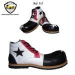 Sapato de Palhaço Preto/Branco/Vermelho com Estrela Ref 512