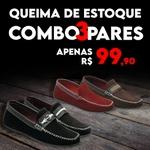 Kit C/ 3 Pares Sapatilha RF4 - Preto/Café/Vermelho