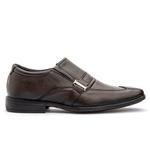 Sapato em couro bico quadrado Café FT