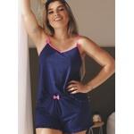 Pijama Verão Bicolor Babado em Microfibra Leve - AZUL MARINHO