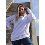 Blusa Moletom Redondo Canguru Lisa - BRANCO
