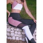 Calça Fitness Preto Tricolor Recorte Callas New Zealand em Microfibra - PRETO