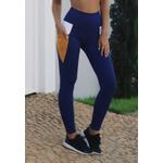 Calça Fitness Marinho Tricolor Recorte Branco e Bolso Damasco em Microfibra New Zealand - AZUL MARINHO