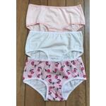 Kit 3 Calcinhas Infantis 02 Flores, Rosa Clara e Branca em Cotton - ESTAMPADA