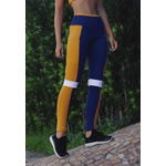 Calça Fitness Marinho Tricolor Recorte Damasco e Branco em Microfibra New Zealand - AZUL MARINHO