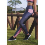 Calça Fitness com Bolso Recorte Panturilha em Microfibra - CINZA