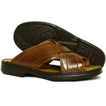 Chinelo Masculino Conforto Em Couro Whisky Tipo Anti-Stress Galway 3005