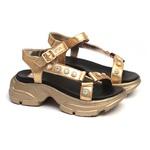 Sandália Dourada Feminina Infantil Gats