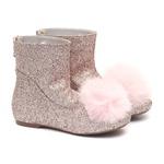 Bota Pompom Glitter Rosa Cristal