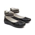 Sapato Tornozeleiras Bordado Verniz Preto