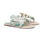 Sandália Rasteira Seahorse Verde Tiffany