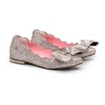 Sapatilha Bico Fino Laço Glitter Rosa