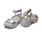 Sandália Plataforma Holográfico Prata