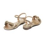 Sandália Laço Strass Cristal Dourado