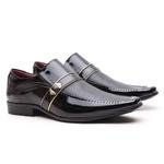 Sapato Social Gofer em Couro Verniz Preto com Detalhes Estampados Exclusivos - 0247APU