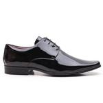 Sapato Social Clássico Gofer Em Couro Verniz Preto - 0360PU