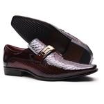 Sapato Social Gofer Em Couro Verniz Dark Red com Detalhes Estampados Cobra - 0556APU
