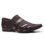 Sapato Social Gofer em Couro Blob Café e Verniz Negresco com Detalhes Exclusivos- 0841APU-PE