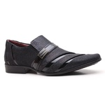 Sapato Social Gofer em Couro Blob Preto e Verniz Preto com Detalhes Exclusivos- 0841APU-PE