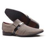 Sapato Social Gofer Em Couro e Tecido Exclusivo Cambraia Marfim - 0892APU
